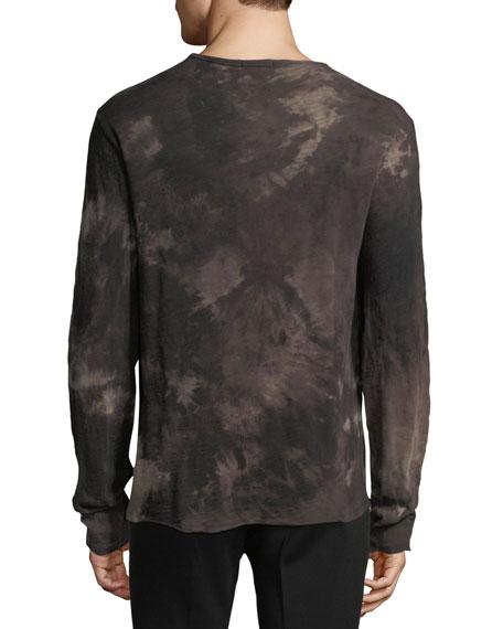 Distressed Tie-Dye Henley Shirt