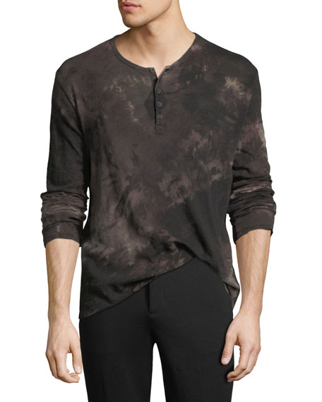 Distressed Tie-Dye Henley Shirt