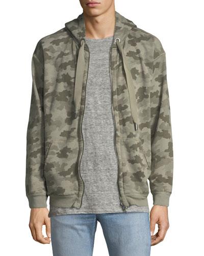 Camouflage-Print Terry Zip-Front Hoodie Sweatshirt