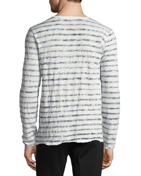 Distressed Painted-Stripe Long-Sleeve T-Shirt
