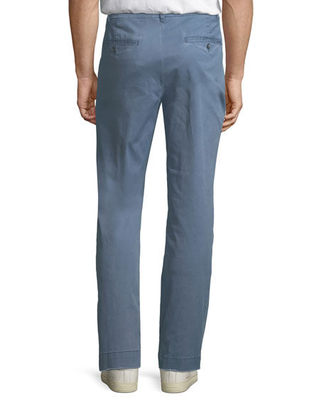Pigment Enzyme Washed Cotton-Stretch Slim-Straight Pants