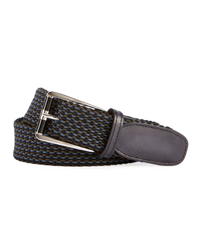 Leather-Trim Woven Belt