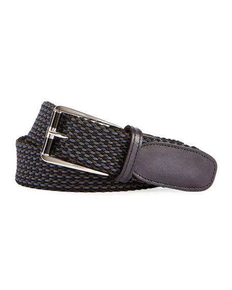 Leather-Trim Woven Belt