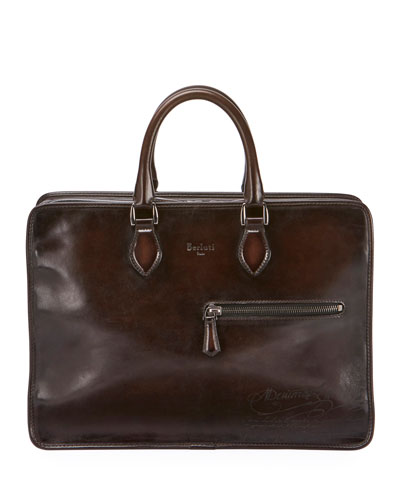 Deux Jours Scritto-Embossed Leather Briefcase