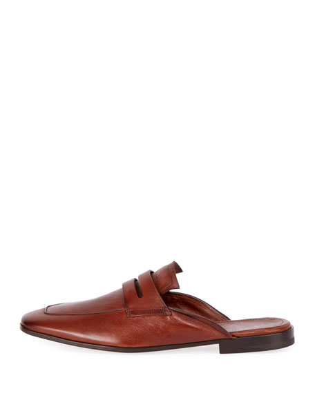 Kangaroo Leather Slip-On Loafer Mule