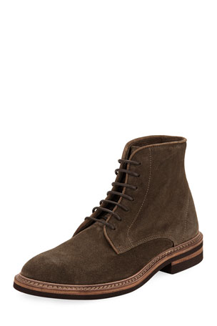 Brunello Cucinelli Kude Suede Lace-Up Boot