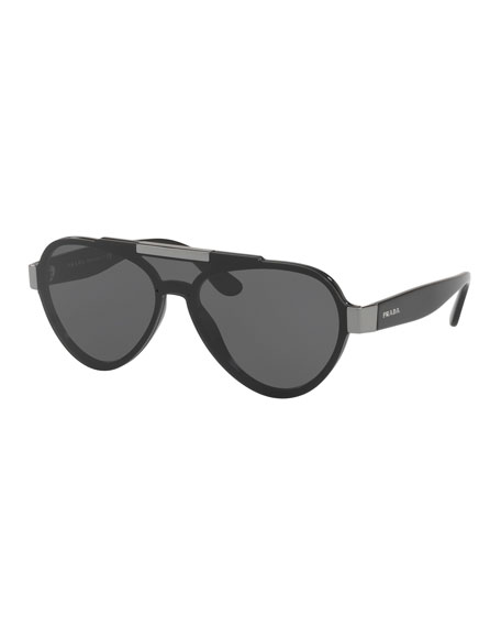 Prada Men's Plastic Aviator Sunglasses