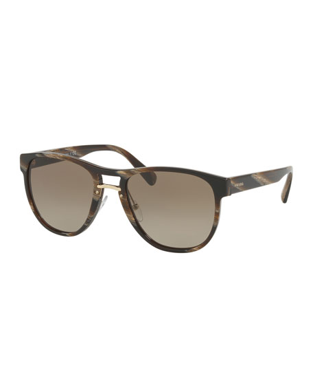 Prada Men's Square Acetate Gradient Sunglasses