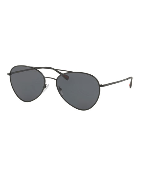 Prada Men's Polarized Metal Pilot Sunglasses