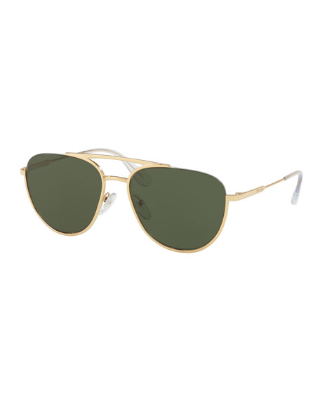 Prada Men's Metal Pilot Sunglasses