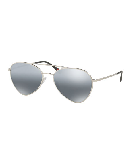 Prada Men's Mirrored Pilot Sunglasses