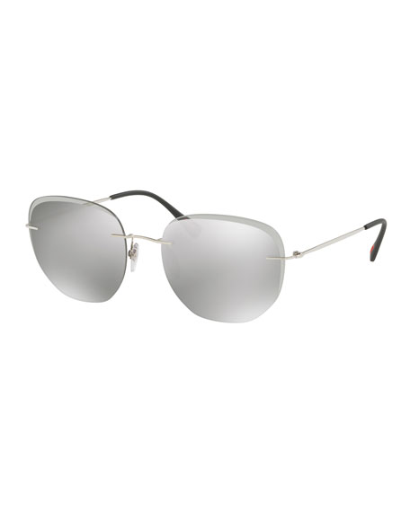 Prada Men's Rimless Square Sunglasses