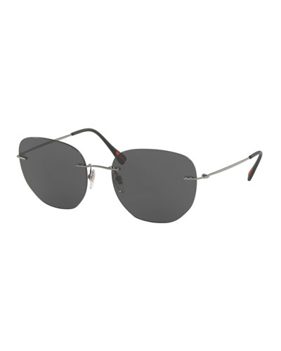 Men's Rimless Square Sunglasses