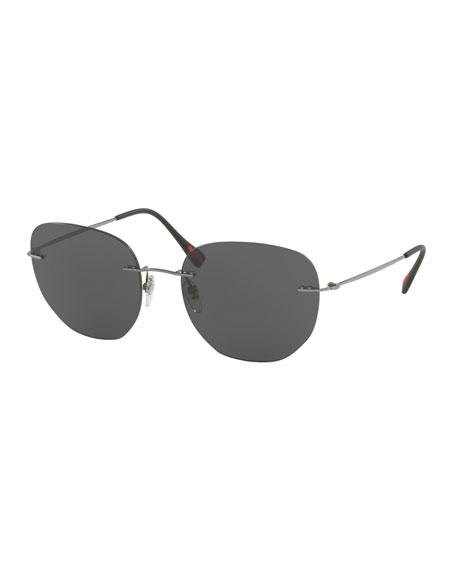 Prada Men's Rimless Square Sunglasses