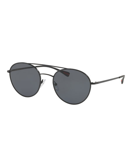 Prada Men's Polarized Round Pilot Sunglasses