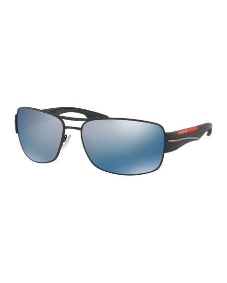 Prada Men's Polarized Mirrored Rectangular Metal Sunglasses