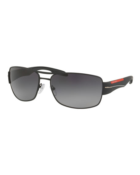 Prada Men's Gradient Polarized Rectangular Metal Sunglasses