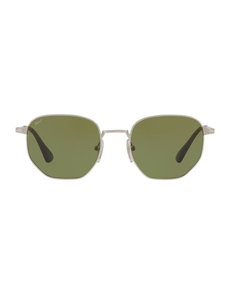 Metal Universal Fit Pilot Sunglasses with Solid-Color Lenses