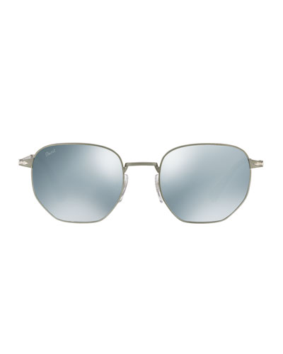 Metal Universal Fit Pilot Sunglasses with Mirrored Lenses