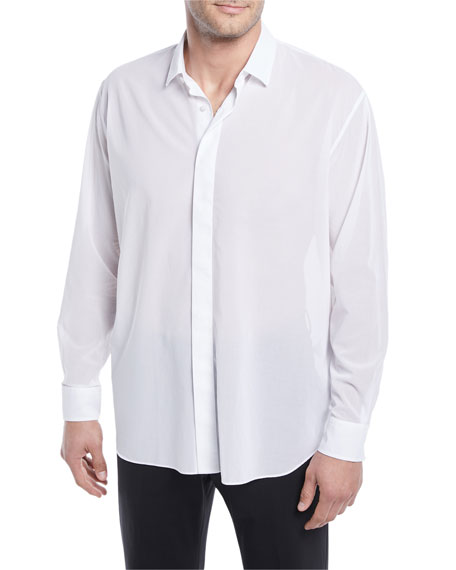 Hidden-Button Sport Shirt