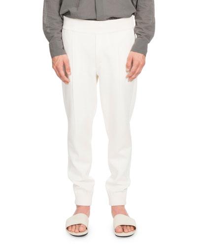Tapered-Leg Silk/Cotton-Blend Pants