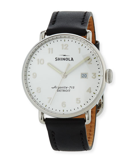 Shinola Men's 43mm Canfield Leather Strap Watch, Silver