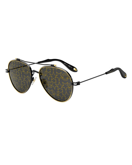 Givenchy Men's GV 7057 Aviator Sunglasses with Star-Pattern