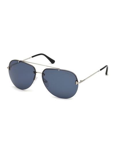 Brad Half-Rim Aviator Sunglasses