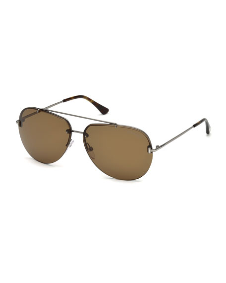 Brad Half-Rim Aviator Sunglasses, Black/Brown