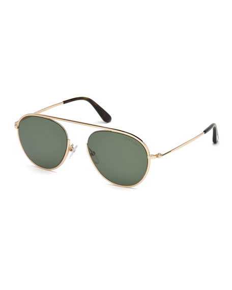 TOM FORD Keith Men's Round Brow-Bar Metal Sunglasses