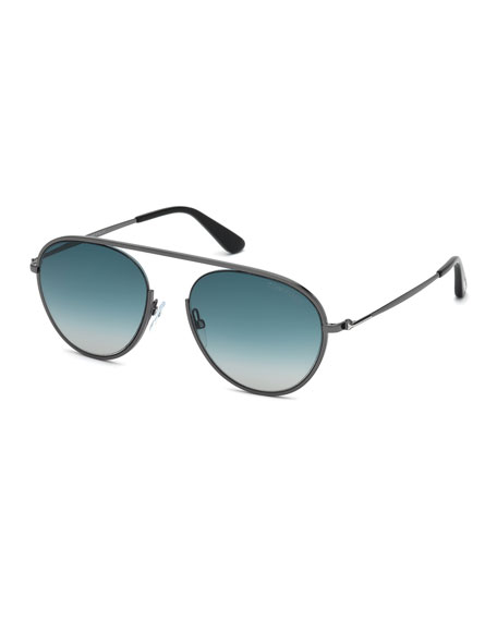 TOM FORD Keith Men's Round Brow-Bar Metal Sunglasses,