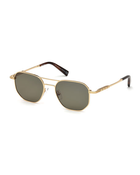 Ermenegildo Zegna Square Metal Aviator Sunglasses, Brown Pattern