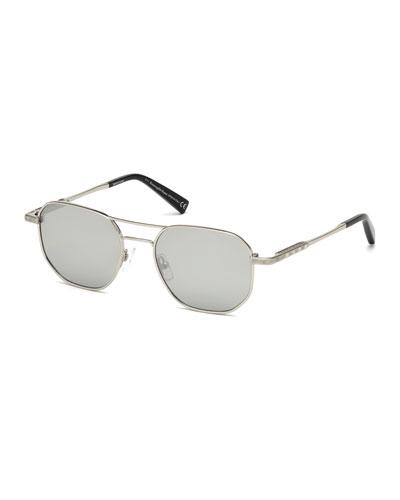 Square Metal Aviator Sunglasses, Gray