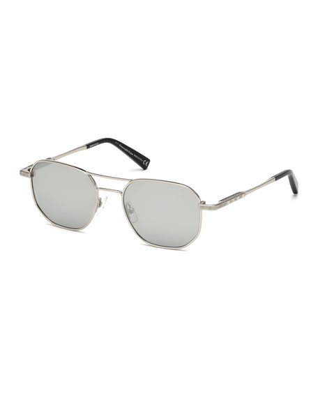 Ermenegildo Zegna Square Metal Aviator Sunglasses, Gray