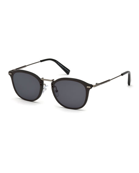 Metal & Leather Universal Fit Sunglasses