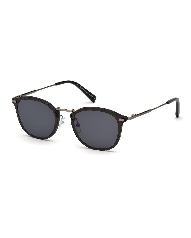 4d83b85c4783 Ermenegildo Zegna Metal   Leather Universal Fit Sunglasses