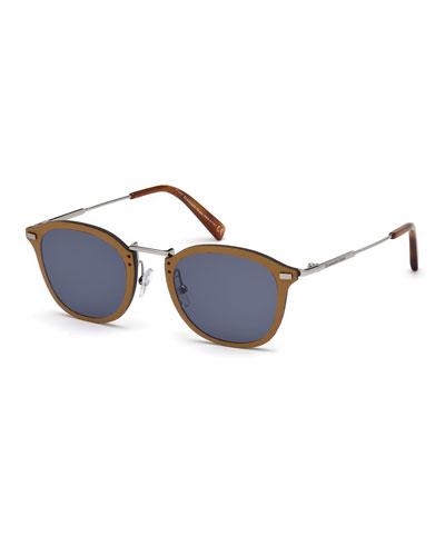 Metal & Leather Universal Fit Sunglasses