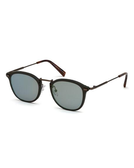 Ermenegildo Zegna Metal & Plastic Square Sunglasses, Green