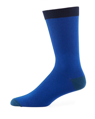 Vertical Block Cotton-Blend Socks