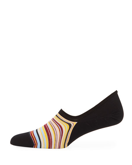 Striped Cotton-Blend No-Show Socks