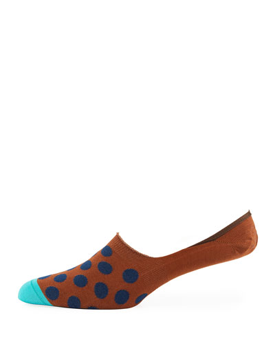 Dotted Cotton-Blend No-Show Socks