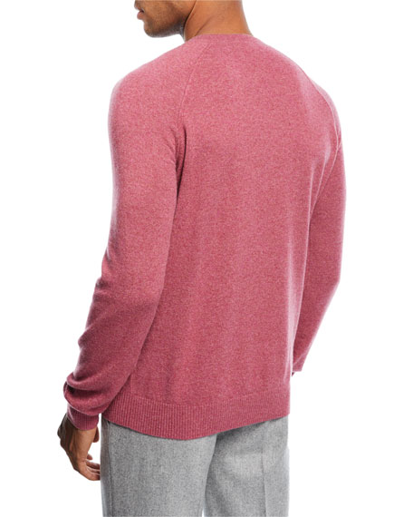 Cashmere Baseball Crewneck Sweater, Faded Hydrangea