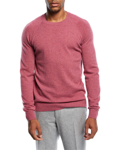Loro Piana Cashmere Baseball Crewneck Sweater, Faded Hydrangea