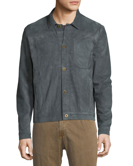 Cullen Button-Front Suede Jacket