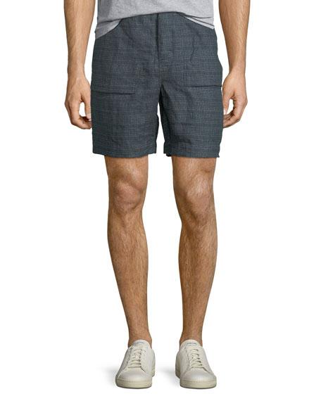 Everett Plaid Linen Shorts, Blue