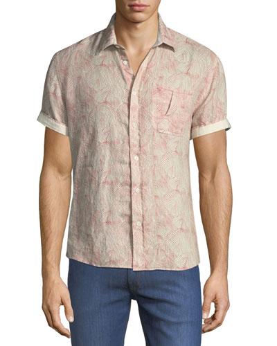 Martin Short-Sleeve Swirl-Print Linen Shirt