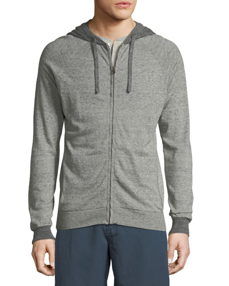 Whit Heathered-Knit Zip-Front Hoodie