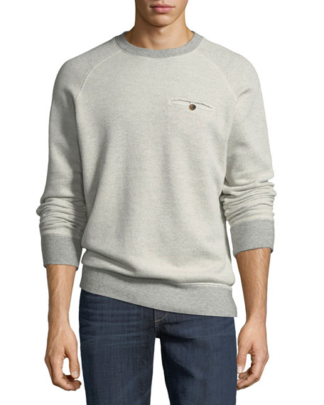 Billy Reid Tommy Crewneck Sweatshirt with Elbow Patches