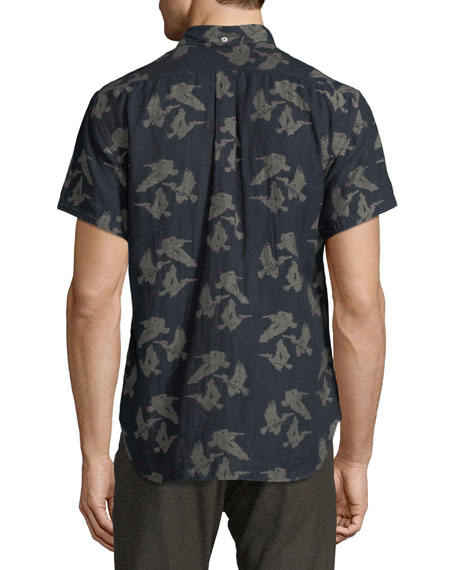 Tuscumbia Bird-Print Short-Sleeve Sport Shirt