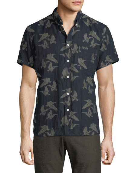 Billy Reid Tuscumbia Bird-Print Short-Sleeve Sport Shirt